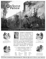 0410149 © Granger - Historical Picture ArchiveAD: FENCING, 1927.   American advertisement for Cyclone Fence, 1927.