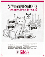 0433334 © Granger - Historical Picture ArchiveAD: CAT FOOD, 1964.   American advertisement for Puss 'n Boots cat food. Illustration, 1964.