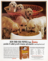 0433437 © Granger - Historical Picture ArchiveAD: FRISKIES, 1963.   American advertisement for Friskies puppy food. Photograph, 1963.