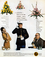 0433461 © Granger - Historical Picture ArchiveAD: FLOWER DELIVERY, 1963.  American advertisement for the Florists' Telegraph Delivery Association. Photograph, 1963.