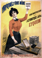 0528598 © Granger - Historical Picture ArchiveAD: PRINTING, 1899.   Advertisement for the French printing machine Eyquem. Lithograph after Jean de Paleologue, 1899.