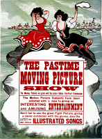 0621477 © Granger - Historical Picture ArchiveAD: MOVING PICTURE, 1913.   American advertising poster for the Pastime Moving Picture Show on Thomas Edison's kinetoscope. Lithograph, 1913.