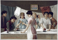 0622997 © Granger - Historical Picture ArchiveAD: KINGSFORD, c1885.   Advertisement for Kingsford's Oswego Starch, depicting a group of women ironing laundry. Engraving, c1885.