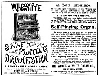 0266946 © Granger - Historical Picture ArchiveAD: ORGAN, 1890.   American magazine advertisement for Wilcox and White's self-playing organs, 1890.