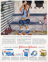 0410088 © Granger - Historical Picture ArchiveAD: JOHNSON & JOHNSON, 1959.   American advertisement for Johnson & Johnson first aid products, 1959.