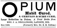 0013418 © Granger - Historical Picture ArchiveOPIUM HABIT 'CURE,' 1877.   Advertisement from an American newspaper of 1877. Such mail order 'cures' for opium and morphine addiction contracted by wounded veterans of the Civil War regularly appeared in newspapers and magazines during the late 19th century.