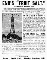 0090741 © Granger - Historical Picture ArchiveENO'S FRUIT SALT, 1892.   English newspaper advertisement for Eno's Fruit Salt, which claims to act as a remedy for nearly every ailment, 1892.
