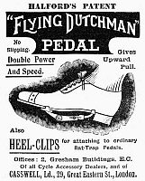 0090758 © Granger - Historical Picture ArchiveFLYING DUTCHMAN, 1898.   English newspaper advertisement for the 'Flying Dutchman' shoe pedal for bicylcing, 1898.