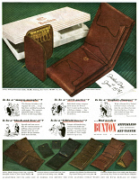 0409937 © Granger - Historical Picture ArchiveAD: BUXTON, 1947.   American advertisement for Buxton wallets and key holders, 1947.