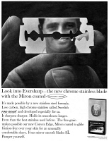 0433369 © Granger - Historical Picture ArchiveAD: RAZOR BLADE, 1966.   American advertisement for Eversharp razor blades. Photograph, 1966.