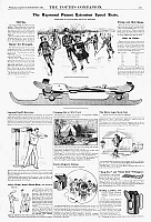 0266598 © Granger - Historical Picture ArchiveAD: RECREATION, 1890.   American magazine advertisements for ice skates, an exercise machine, a camping tent, a battery, and an ice skating sail and lantern, 1890.
