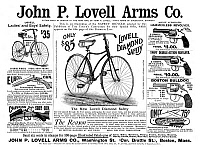 0266948 © Granger - Historical Picture ArchiveAD: SPORTING GOODS, 1890.   American magazine advertisement for John P. Lovell Arms Co., selling bicycles, shot guns, revolvers and pocket knives, 1890.