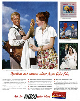 0409910 © Granger - Historical Picture ArchiveAD: COLOR FILM, 1947.   American advertisement for Ansco Color Film, 1947.