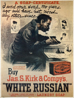 0526771 © Granger - Historical Picture ArchiveAD: WHITE RUSSIAN SOAP.   Advertisement for James S. Kirk and Company's 'White Russian' soap, parodying the famous Pear's soap ad. Illustration by Harry Furniss, c1890.