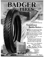 0410142 © Granger - Historical Picture ArchiveAD: BADGER TIRES, 1927.   American advertisement for Badger Tires, 1927.