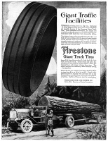 0432397 © Granger - Historical Picture ArchiveAD: FIRESTONE, 1918.   American advertisement for Firestone Giant Truck Tires. Illustration, 1918.