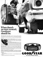 0433301 © Granger - Historical Picture ArchiveAD: GOODYEAR, 1966.   American advertisement for Goodyear tires. Photograph, 1966.