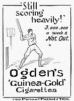 0037838 © Granger - Historical Picture ArchiveOGDEN'S CIGARETTES, 1897.   'Still Scoring Heavily.' English advertisement for Ogden's 'Guinea-Gold' cigarettes, 1897.