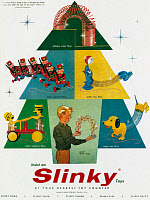 0322248 © Granger - Historical Picture ArchiveAD: SLINKY, 1957.   American advertisement for Slinky toys, 1957.