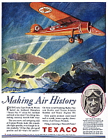 0118794 © Granger - Historical Picture ArchiveTEXACO ADVERTISEMENT, 1929.   American magazine advertisement for Texaco gasoline and oil, featuring record-setting pilot Captain Frank Hawks, 1929.