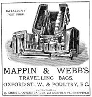 0354556 © Granger - Historical Picture ArchiveAD: TRAVEL BAG, 1887.   English advertisement for Mappin and Webb's traveling bags, 1887.