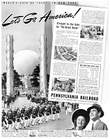 0410194 © Granger - Historical Picture ArchiveAD: WORLD'S FAIR, 1940.   American advertisement for travel to the World's Fair in New York City, 1940.
