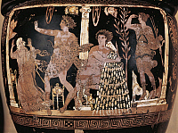 0269217 © Granger - Historical Picture ArchiveARCHAEOLOGY.   Greek civilization, 5th century b.C. Red-figure pottery. Krater portraying Eumenides of Aeschylus's tragedy. Apollo defends Oreste from the Fury. Full Credit: DEA PICTURE LIBRARY / Granger, NYC -- All rights reserved.