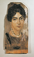 0270130 © Granger - Historical Picture ArchiveARCHAEOLOGY.   Egyptian civilization 2nd century b.C. Portrait of a young woman, painted with tempera on wood. From Al Fayyum. Full Credit: DEA PICTURE LIBRARY / Granger, NYC -- All Rights Reserved.