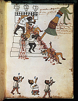 0270133 © Granger - Historical Picture ArchiveARCHAEOLOGY.   Mexico, 16th century. A facsimile of the 'Codex Tudela' manuscript, 1553. Illustration of Indians making human sacrifices. Full Credit: DEA / G. DAGLI ORTI / Granger, NYC -- All Rights Reserved.