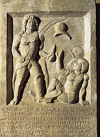 0270251 © Granger - Historical Picture ArchiveARCHAEOLOGY.   Roman civilization, 1st century A.D. Funerary stele with relief depicting a gladiator fight. From Amisos (Samsun) Turkey. Full Credit: DEA / A. DAGLI ORTI / Granger, NYC -- All Rights Reserved.