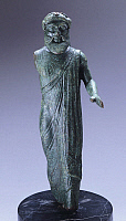 0270536 © Granger - Historical Picture ArchiveARCHAEOLOGY.   Bronze statuette depicting Fufluns, front view. Etruscan Civilization, ca 480 BC. Full Credit: DEA / A. DE GREGORIO / Granger, NYC -- All rights reserved.