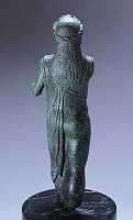 0270537 © Granger - Historical Picture ArchiveARCHAEOLOGY.   Bronze statuette depicting Fufluns, rear view. Etruscan Civilization, ca 480 BC. Full Credit: DEA / A. DE GREGORIO / Granger, NYC -- All rights reserved.