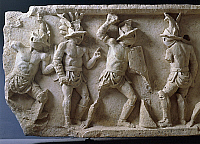 0271324 © Granger - Historical Picture ArchiveARCHAEOLOGY.   Roman civilization, 1st century A.D. Relief with scenes of gladiatorial combat and games (munera). Full Credit: DEA / A. DE GREGORIO / Granger, NYC -- All rights res