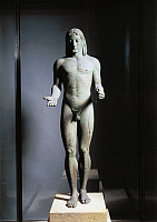 0271585 © Granger - Historical Picture ArchiveARCHAEOLOGY.   Greek civilization, 6th century b.C. Bronze statue known as Apollo of Piraeus, 530 b.C. Full Credit: DEA / G. NIMATALLAH / Granger, NYC -- All rights reserved.