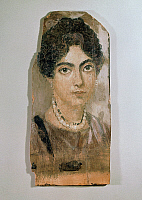 0272227 © Granger - Historical Picture ArchiveARCHAEOLOGY.   Egyptian civilization, 2nd century b.C. Portrait of a woman, distemper painting on wood, from Al-Fayyum, Egypt. Full Credit: DEA PICTURE LIBRARY / Granger, NYC -- All Rights Reserved.