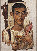 0272339 © Granger - Historical Picture ArchiveARCHAEOLOGY.   Egyptian civilization, 1st-2nd century A.D. Portrait of a young man holding ciborium and flowers. Distemper painting on wood. From Al Fayyum, Egypt. Full Credit: DEA / G. DAGLI ORTI / Granger, NYC -- All rights reserved.