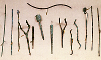 0272344 © Granger - Historical Picture ArchiveARCHAEOLOGY.   Probes and forceps, surgical instruments from Pompeii, Campania. Roman Civilization. Full Credit: DEA / A. DE GREGORIO / Granger, NYC -- All rights reserved.