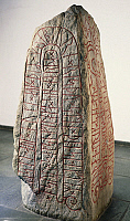 0272362 © Granger - Historical Picture ArchiveARCHAEOLOGY.   Viking civilization - Runestone with Futhark inscription. Full Credit: DEA / G. DAGLI ORTI / Granger, NYC -- All Rights Reserved.