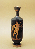 0272496 © Granger - Historical Picture ArchiveARCHAEOLOGY.   Greek civilization, 5th century b.C. Red-figure pottery. Lekythos depicting Apollo Citharoedus by the 'Berlin Painter' (500 - 460 b.C.), from Gela, Sicily Region, Italy. Full Credit: DEA / G. NIMATALLAH / Granger, NYC -- All Rights Reserved.