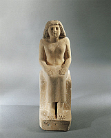 0274282 © Granger - Historical Picture ArchiveARCHAEOLOGY.   Egypt, Seated woman, fourth dynasty from the mastaba of Nefertkau at Giza, limestone 26th Century B.C., Germany, Munich, Staatliche Sammlung Agyptischer Kunst (Egyptian Museum), Old Kingdom, Egyptian art. Full Credit: DEA / G. DAGLI ORTI / Granger, NYC -- All rights reserved.