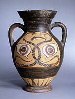 0274732 © Granger - Historical Picture ArchiveARCHAEOLOGY.   Amphora decorated with snakes and eyes, black-figure pottery. Greek Civilization. Full Credit: DEA PICTURE LIBRARY / Granger, NYC -- All rights reserved.