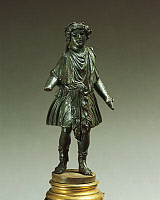 0274917 © Granger - Historical Picture ArchiveARCHAEOLOGY.   Italy, Emilia-Romagna, Velleia, Statuette representing a Lar (household God), bronze Italy, Bologna, Museo Civico Archeologico (Archaeological Museum), Roman art. Full Credit: DEA / A. DE GREGORIO / Granger, NYC -- All rights
