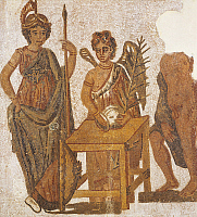 0274941 © Granger - Historical Picture ArchiveARCHAEOLOGY.   Mosaic of the Attic Legend depicting Winged Victory collecting the votes in the ballot, on the left Athena. Roman Civilization, 3rd Century. Full Credit: DEA / G. DAGLI ORTI / Granger, NYC -- All rights reserved.