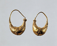 0276722 © Granger - Historical Picture ArchiveARCHAEOLOGY.   Greek civilization, 4th-3rd century b.C. Goldsmithery. Gold earrings. Full Credit: DEA / G. DAGLI ORTI / Granger, NYC -- All rights reserved.