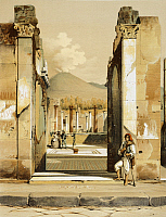 0277377 © Granger - Historical Picture ArchiveARCHAEOLOGY.   Reproduction of the perspective view of a house, the Houses and Monuments of Pompeii, by Fausto and Felice Niccolini, Volume I, House of the Faun, Plate IX, 1854-1896. Full Credit: DEA / G. DAGLI ORTI / Granger, NYC -- All ri.