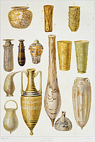 0277405 © Granger - Historical Picture ArchiveARCHAEOLOGY.   Reproduction of objects in glass paste, from The Houses and Monuments of Pompeii, by Fausto and Felice Niccolini, Volume II, General Descriptions, Plate LXXXIII, 1854-1896. Full Credit: DEA / G. DAGLI ORTI / Granger, NYC -- All Rights Reserved.