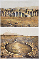 0277422 © Granger - Historical Picture ArchiveARCHAEOLOGY.   Reproduction of some views of an amphitheatre, from The Houses and Monuments of Pompeii, by Fausto and Felice Niccolini, Volume III, Amphitheatre, Plate II, 1854-1896. Full Credit: DEA / G. DAGLI ORTI / Granger, NYC -- All ri.