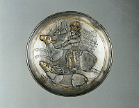 0277527 © Granger - Historical Picture ArchiveARCHAEOLOGY.   Persian civilization, Sassanid Period, 5th century b.C. Silver plate, partially gilded, representing a king, probably Shapur II, hunting deers. Full Credit: DEA PICTURE LIBRARY / Granger, NYC -- All rights reserved.