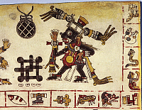 0277538 © Granger - Historical Picture ArchiveARCHAEOLOGY.   Mexico - Pre-Columbian civilization.Facsimile of a page from a code depicting a Mixtec deity associated with medicine. Full Credit: DEA / G. DAGLI ORTI / Granger, NYC -- All Rights Reserved.