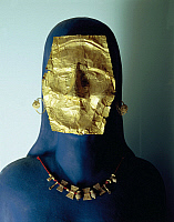 0277640 © Granger - Historical Picture ArchiveARCHAEOLOGY.   Greek civilization, 6th century b.C. Goldsmithery. Gold mask, necklace and ribbon earrings. From Sindos, woman's tombs no. 48 and 56, circa 510-520 b.C. Full Credit: DEA / A. DAGLI ORTI / Granger, NYC -- All rights reserved.